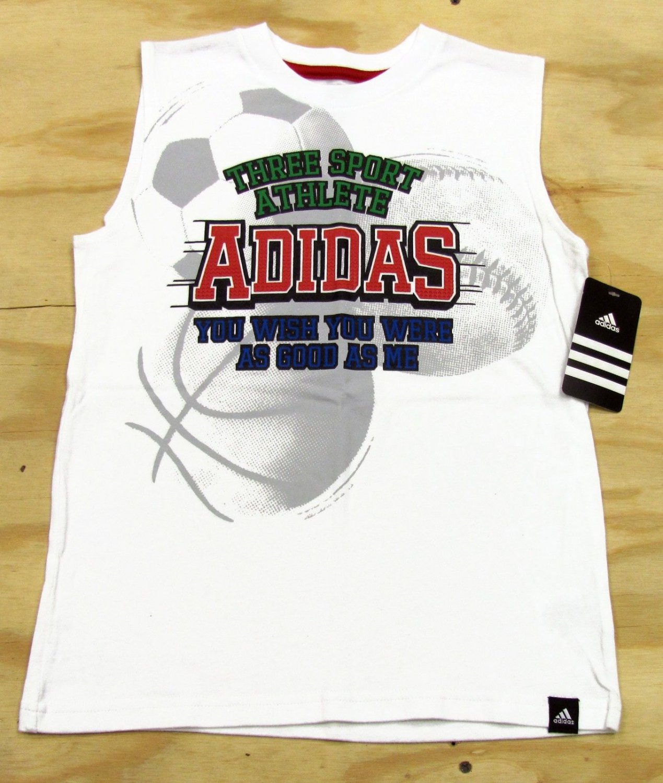 adidas Boys 7X Sleeveless Shirt White Three Sport Tank Top Funny Kids
