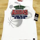 adidas Boys 7X Sleeveless Shirt White Three Sport Tank Top Funny Kids