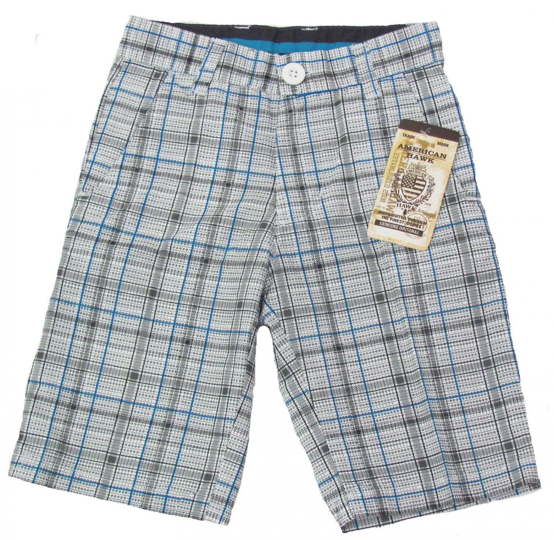 American Hawk Boys size 4 Shorts Gray Blue White Plaid Kids