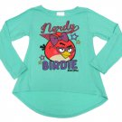 Angry Birds Girls 14-16 T-shirt Nerdy Birdy High-Low Tee Blue Long Sleeve XL
