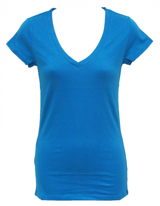 Athletic Basix M V-neck Tee Shirt Blue Basic T-shirt with Cap Sleeves Juniors Medium