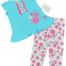 Absorba 2-Piece Set Blue Tank Top Shirt White Pink Floral Leggings Baby Girls 18 Mos