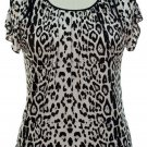 jon and anna 1X White Cold Shoulder Top Leopard Print Blouse Peek-a-Boo Shirt Womens Plus 717