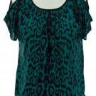 jon and anna M Blue Cold Shoulder Top Leopard Print Blouse Peek-a-Boo Shirt Womens 717