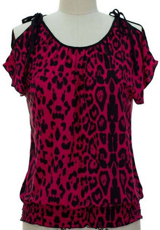 jon and anna M Pink Cold Shoulder Top Leopard Print Blouse Peek-a-Boo Shirt Womens 717