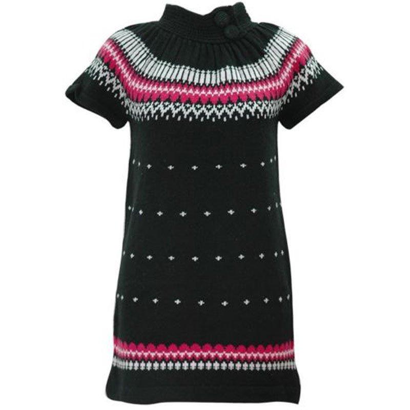 jon & anna L Black Sweater Dress Knit with Buttons Winter Juniors Large New B602