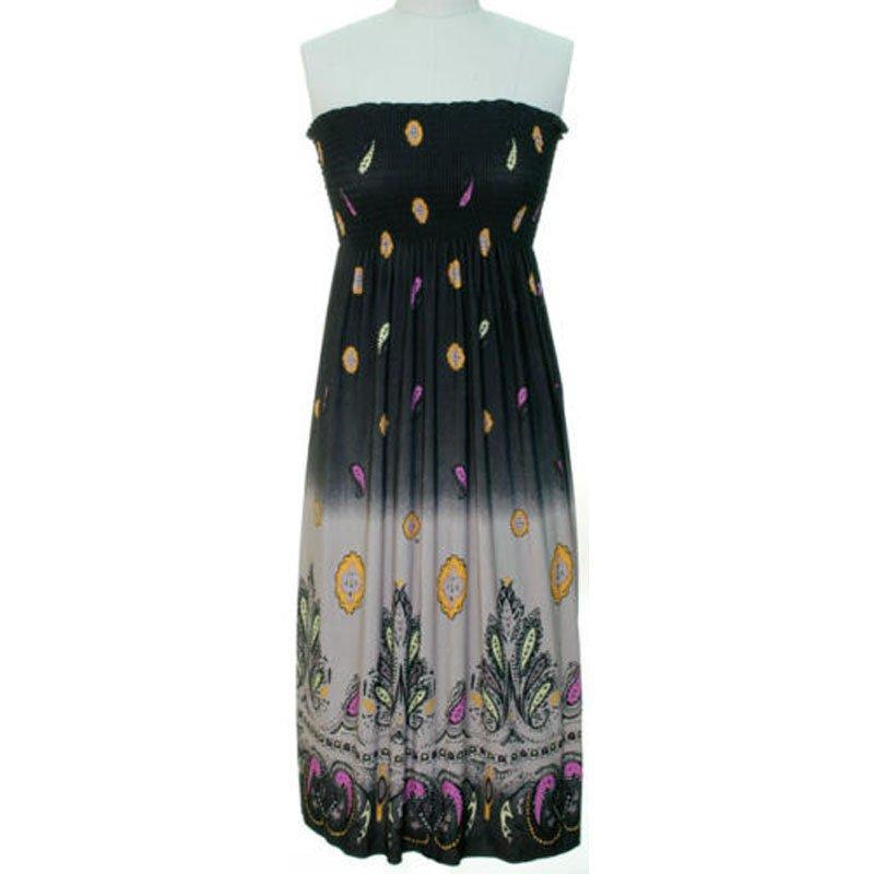 jon & anna S Strapless Maxi Dress Womens Black Gray Purple Smocked Stretch 7042