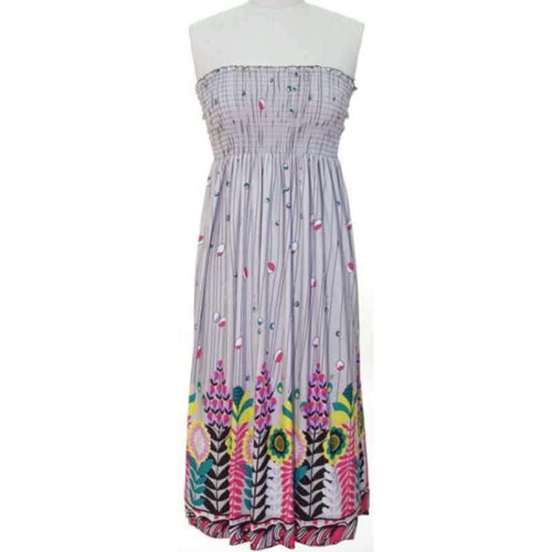 jon & anna S Strapless Maxi Dress Womens Light Gray Smocked Stretch New 7042