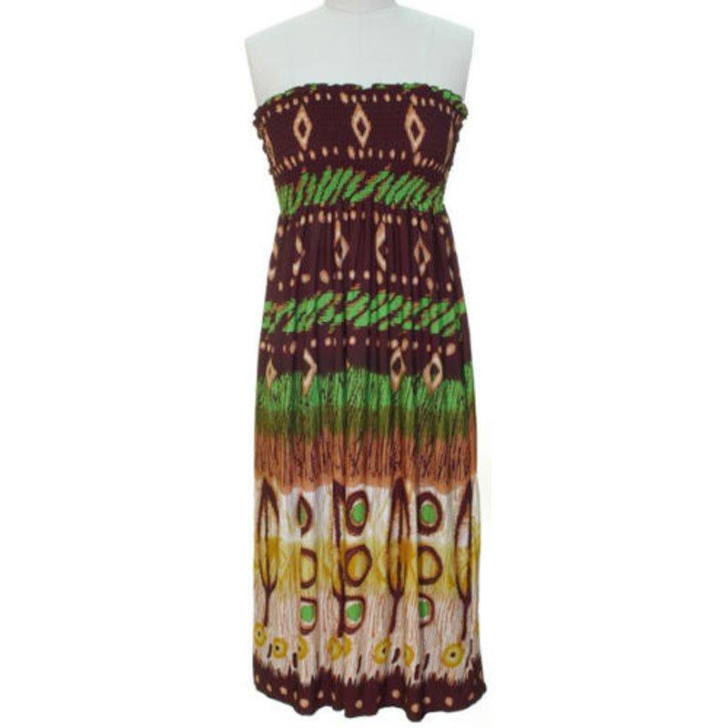 jon & anna S Strapless Maxi Dress Womens Brown Green Tribal Smocked Stretch 7042