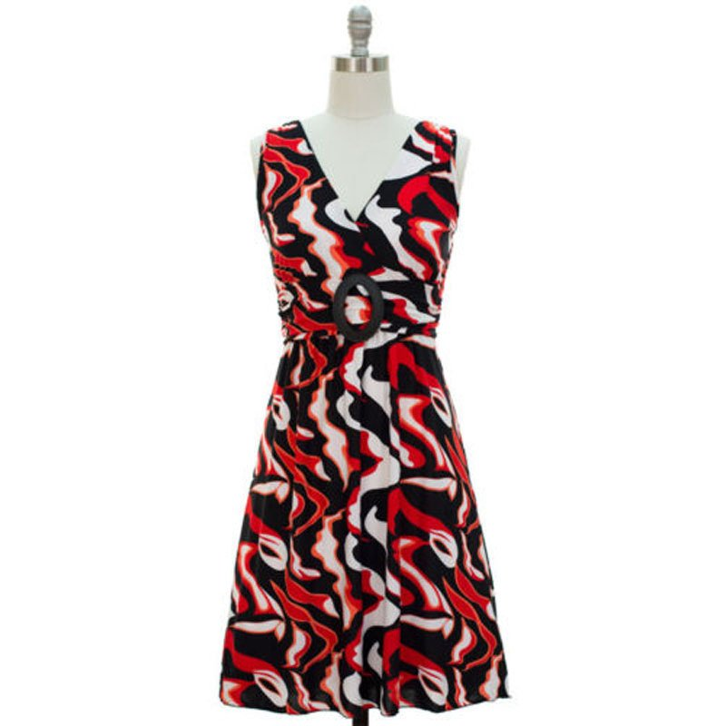 jon & anna M V-neck Dress with Buckle Red Wave Print Surplice Knee Length Womens 7053
