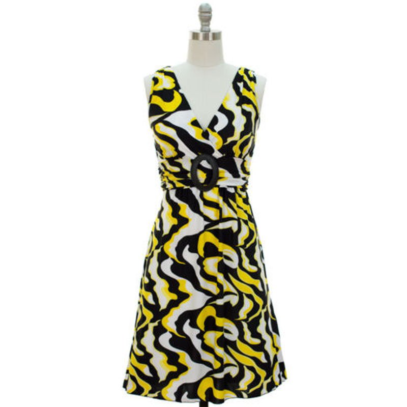 jon & anna M V-neck Dress with Buckle Yellow Wave Print Surplice Knee Length Womens 7053