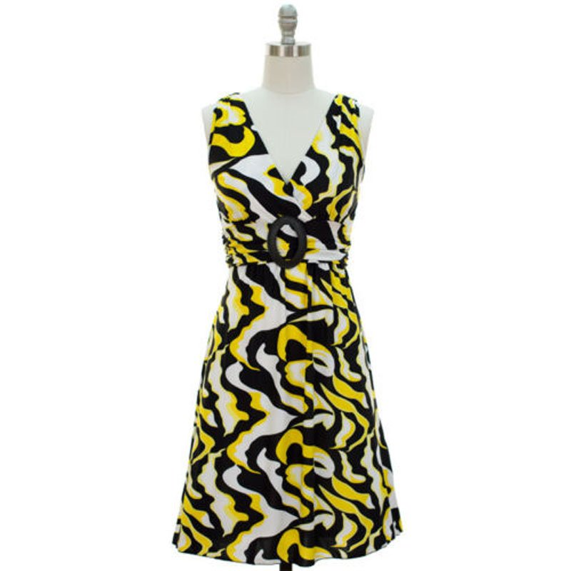 jon & anna S V-neck Dress with Buckle Yellow Wave Print Surplice Knee Length Womens 7053