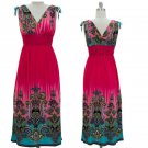 jon & anna Maxi Dress M Pink Paisley Shoulder Tie V-neck Sleeveless Long 7091