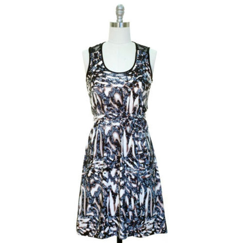 jon and anna Dress L Cadet Blue Abstract Print Lace Black Sleeveless Womens 7079