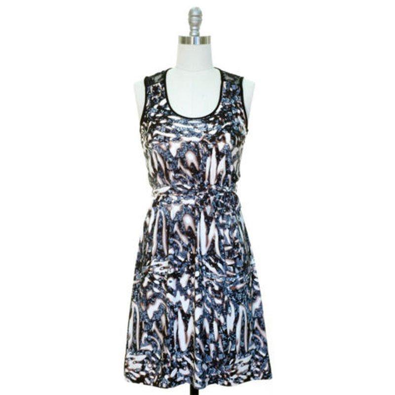 jon and anna Dress M Cadet Blue Abstract Print Lace Black Sleeveless Womens 7079