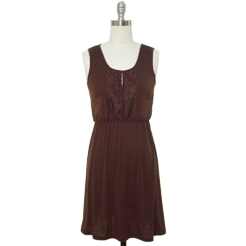 jon & anna S Blouson Dress Brown Jersey Knit Lace Placket Sleeveless Womens 7090 New