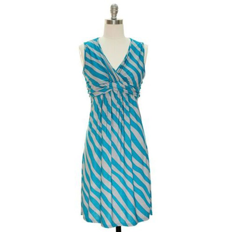 jon & anna S V-neck Sleeveless Dress Blue Gray Striped Knotted Front Knee-Length 7097