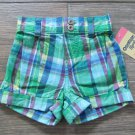 OshKosh B'Gosh Girls Shorts Green Plaid Pleated Summer Baby 24 Months New
