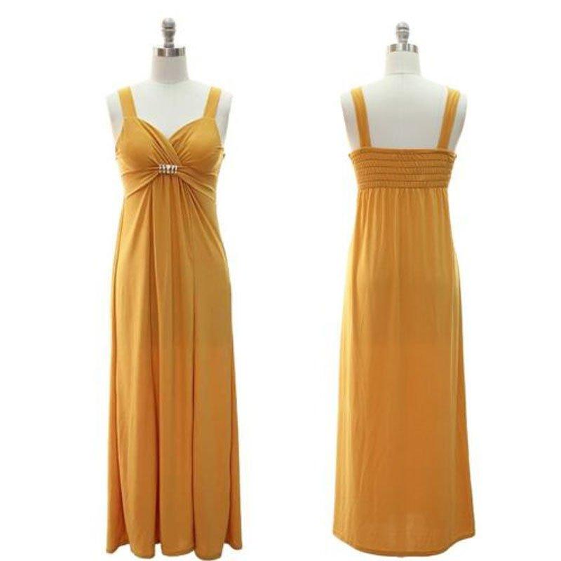jon & anna Long Maxi Dress L Gold Yellow Sweetheart Neckline Sleeveless Womens 8808