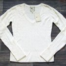 Pink Rose Cable Knit Sweater Long Sleeve V-neck Ivory White Juniors L New