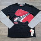 Puma Boys sz 4 Long Sleeve T-shirt Black Red Gray Tee Shirt Kids New