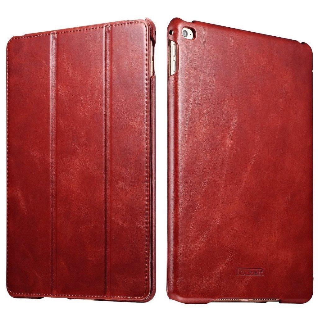 iPad Air 2 & iPad 6 Vintage Genuine Leather Folio Flip Protective Case with Auto Sleep /Wake (Red)