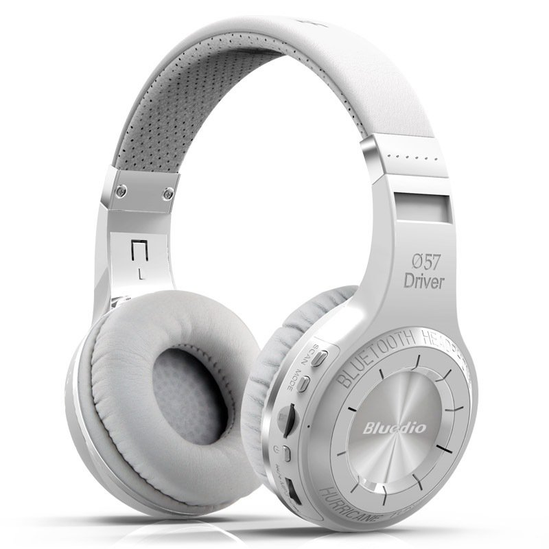 Bluedio H+ Turbine Hurricane Dynamics Wireless Bluetooth 4.1 Stereo Over-Ear Headphone (White)