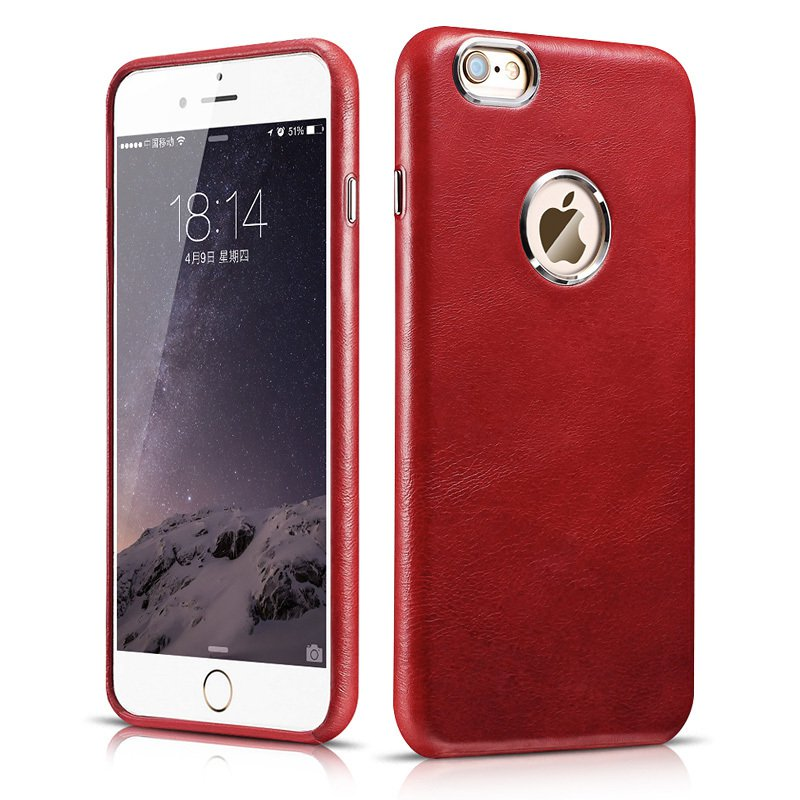 ICARER iPhone 6 Plus/ 6S Plus Genuine Leather Cowhide Protective Back Cover Case (Red)