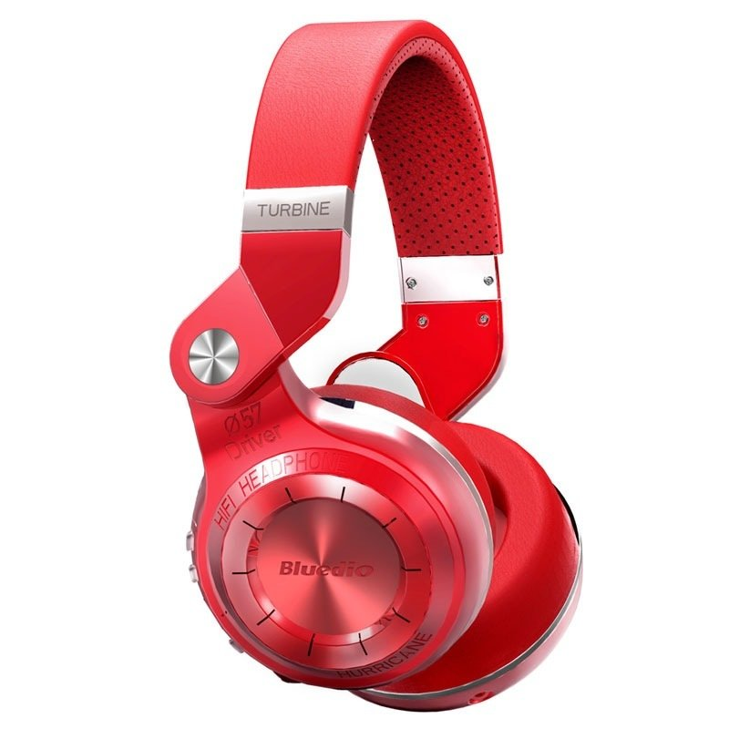 Bluedio T2+ Turbine 195° Rotary Folding Bass Wireless Bluetooth Stereo Over-Ear Headphone (Red)