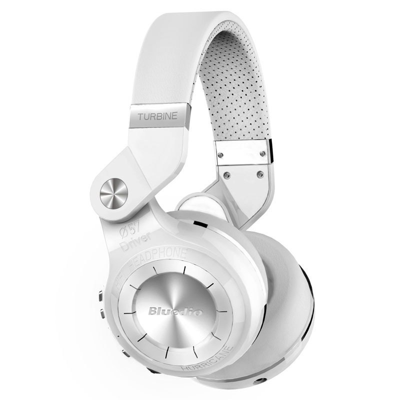 Bluedio T2+ Turbine 195° Rotary Folding Bass Wireless Bluetooth Stereo Over-Ear Headphone (White)
