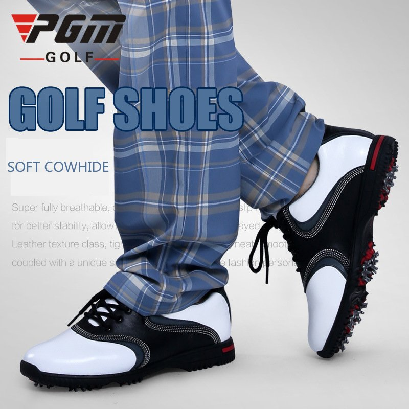 New PGM Male Genuine Leather Professional  Anti-slip Waterproof Activities Spikes Golf Sports Shoes