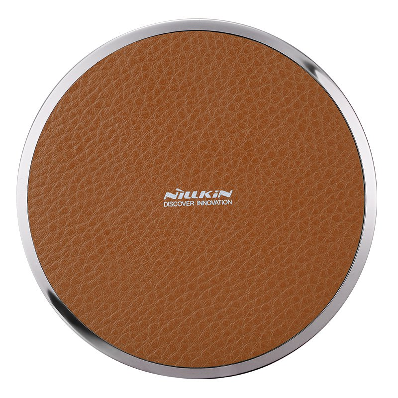 Nillkin Magic Disk 3 Qi Standard Litchi Grain PU Leather 5V/1A Wireless Charger (Brown)