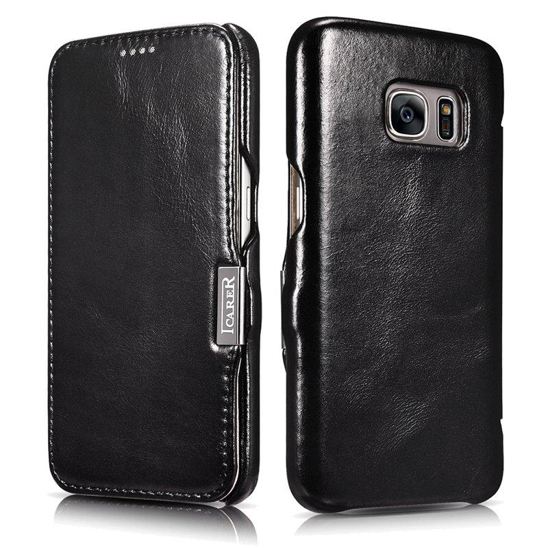 ICARER Genuine Leather Vintage Magnetic Closure Flip Folio Case for Samsung Galaxy S7 (Black)