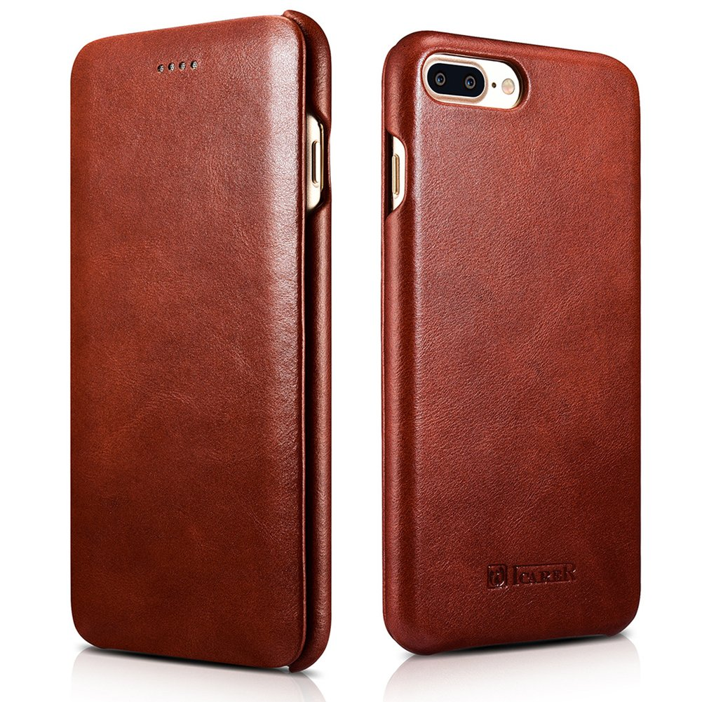 iPhone 7 Plus Genuine Leather Case, ICARER Vintage Series Curve Edge Flip Folio Case (Brown)