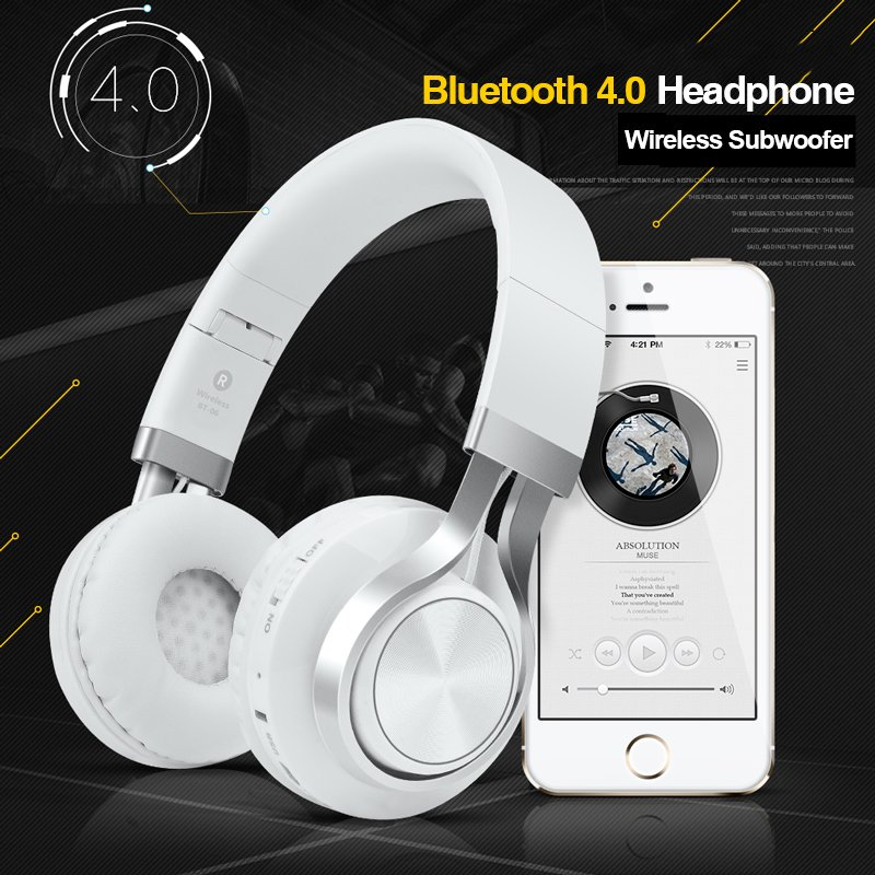 Picun BT-06 Wireless Subwoofer Over-Ear Bluetooth HeadPhone (White)
