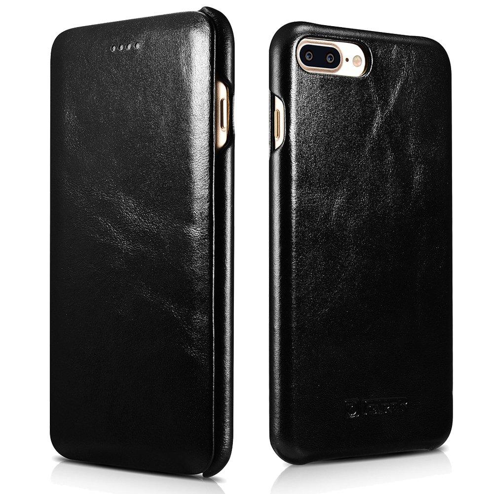 iPhone 7 Plus Genuine Leather Case, ICARER Vintage Series Curve Edge Flip Folio Case (Black)