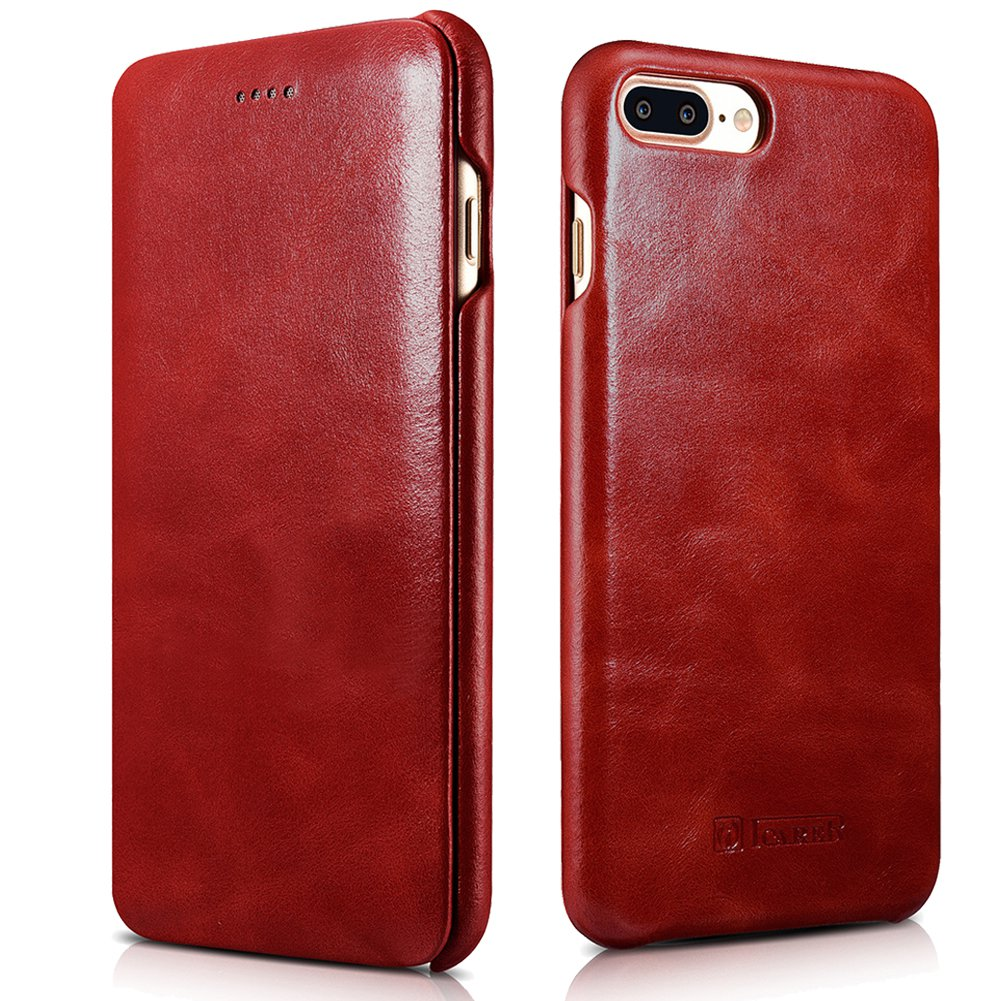 iPhone 7 Plus Genuine Leather Case, ICARER Vintage Series Curve Edge Flip Folio Case (Red)