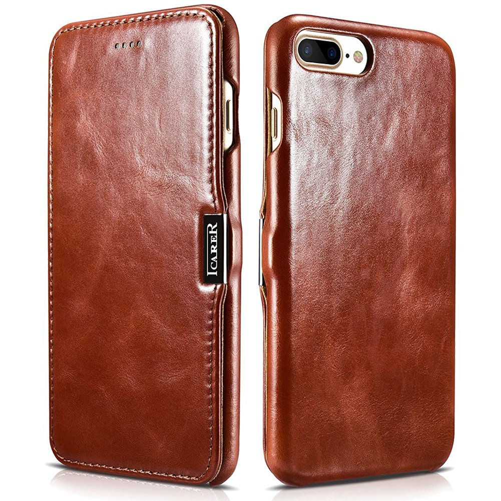 iCarer iPhone 7 Plus Genuine Leather Case, Vintage Series Magnetic Closure Flip Case (Brown)