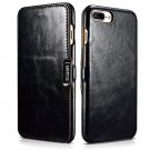 iCarer iPhone 7 Plus Genuine Leather Case, Vintage Series Magnetic Closure Flip Case (Black)