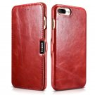 iCarer iPhone 8/7 Plus Genuine Leather Case, Vintage Series Magnetic Closure Flip Case (Red)