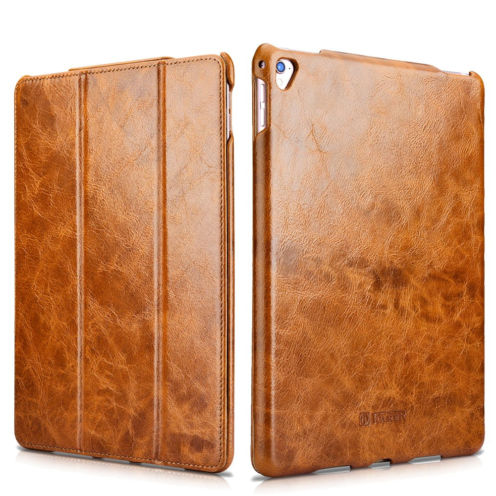 "i-Carer iPad Pro 9.7"" inch Genuine Leather Case, Oil Wax Series Magnetic Kickstand Flip Case"