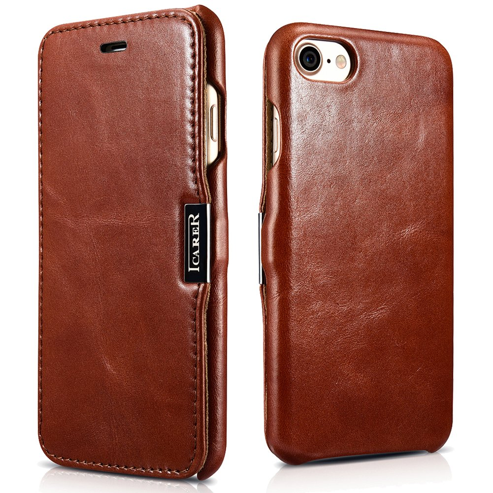 iCarer iPhone 7 Genuine Leather Case, Vintage Series Magnetic Closure Folio Flip Case (Brown)