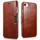 iCarer iPhone 8/7 Genuine Leather Case, Vintage Series Magnetic Closure Folio Flip Case (Brown)