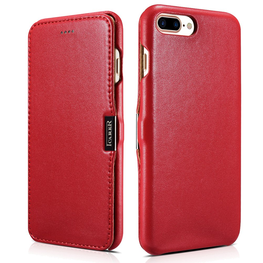 ICARER iPhone 7 Plus Genuine Leather Case, Luxury Collection Magnetic Closure Folio Flip Case (Red)