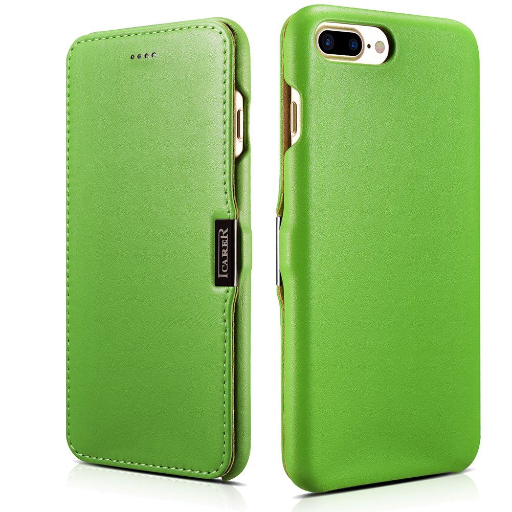 ICARER iPhone 7 Plus Genuine Leather Case, Luxury Series Magnetic Closure Folio Flip Case (Green)