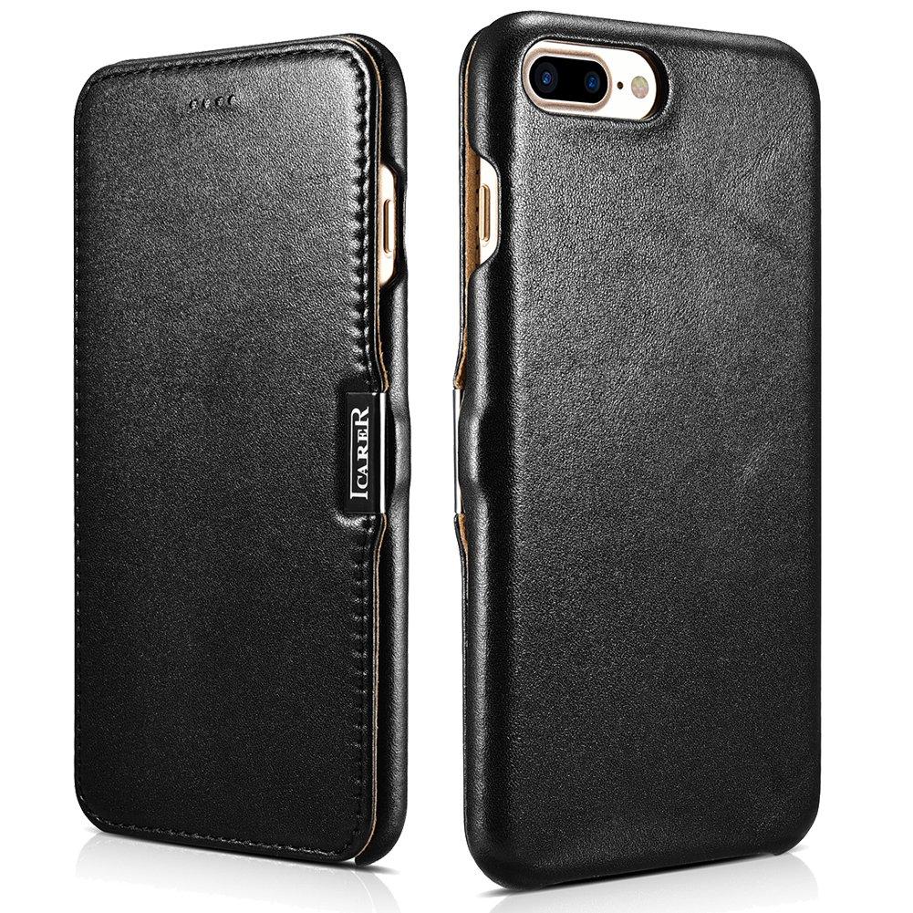 ICARER iPhone 7 Plus Genuine Leather Case, Luxury Series Magnetic Closure Folio Flip Case (Black)