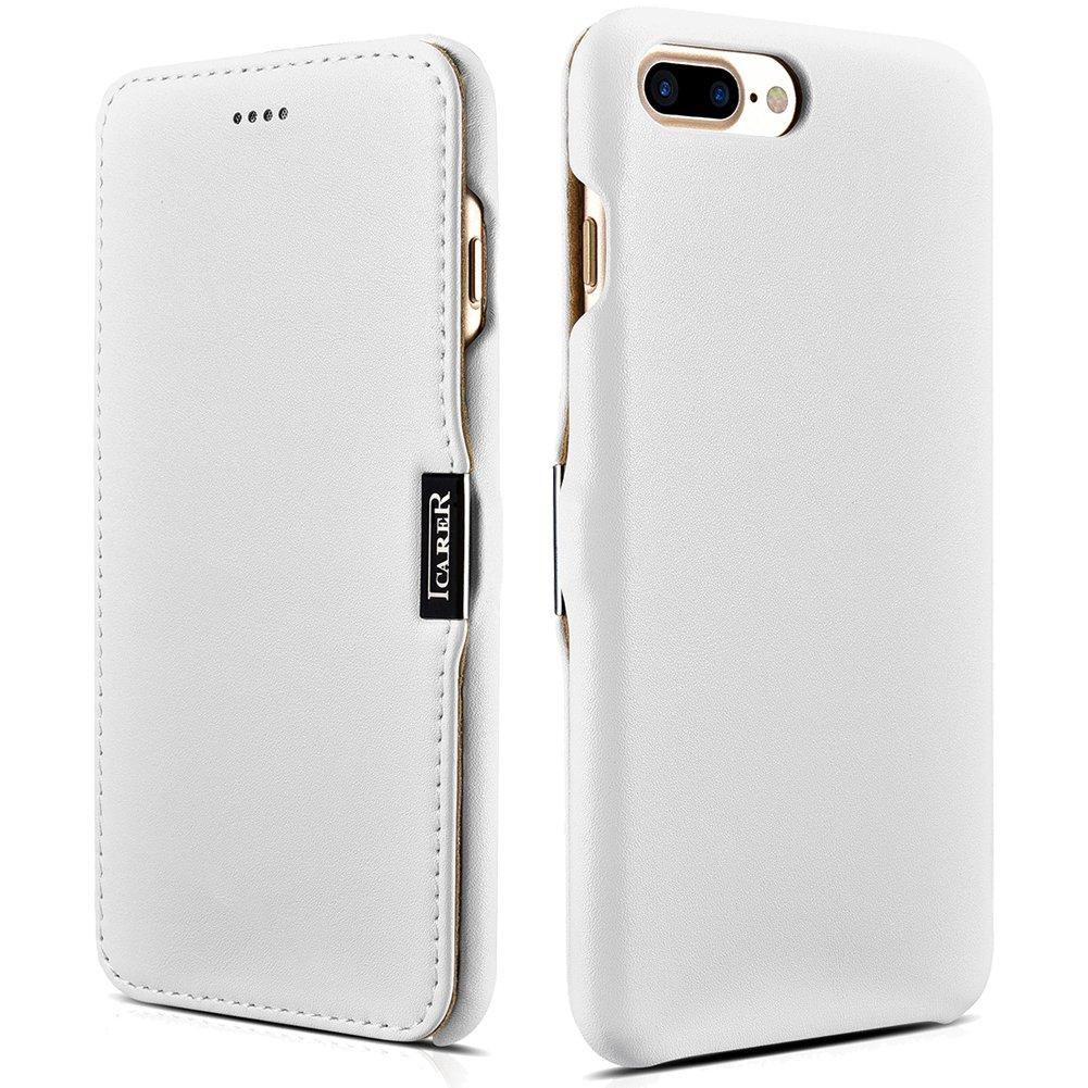 ICARER iPhone 7 Plus Genuine Leather Case, Luxury Series Magnetic Closure Folio Flip Case (White)