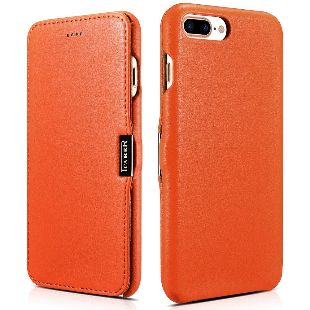 ICARER iPhone 7 Plus Leather Case, Luxury Magnetic Folio Flip Case (Orange)