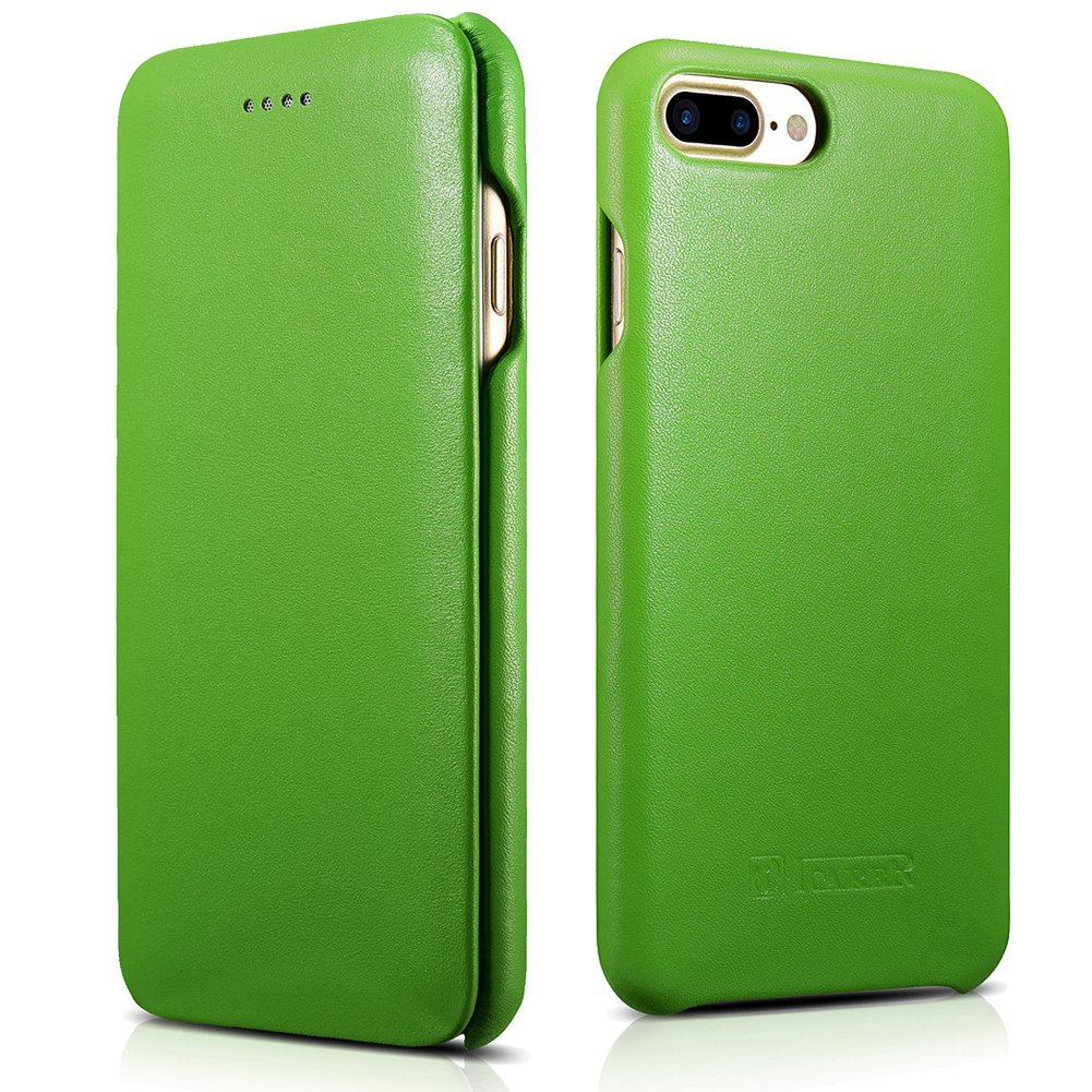 ICARER iPhone 7 Plus Genuine Leather Case, Luxury Curved Edge Full Body Protection Flip Case (Green)