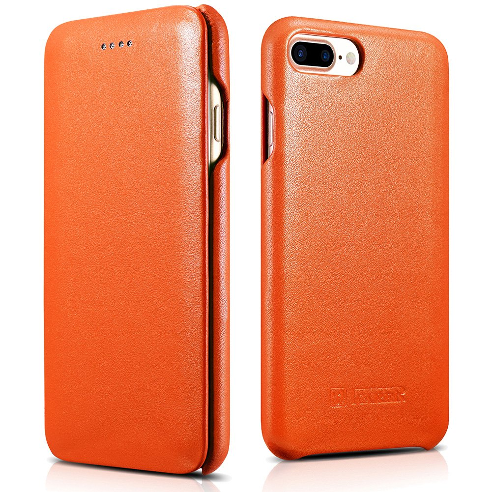 ICARER iPhone 7 Plus Genuine Leather Case, Luxury Curve Edge Full Body Protection Flip Case (Orange)